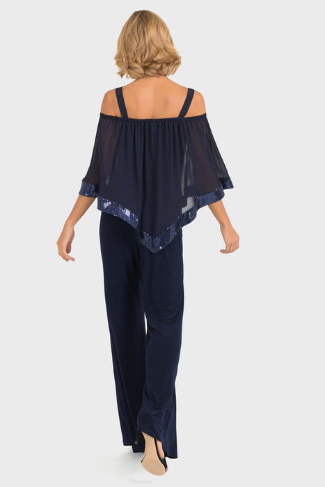 Joseph Ribkoff Midnight Blue Off-Shoulder Sheer Sequin Trim Jumpsuit 193439 NEW