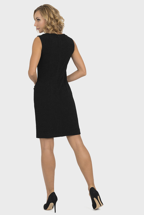 Joseph Ribkoff Black Metallic Trim Textured Sleeveless Dress 193444 NEW