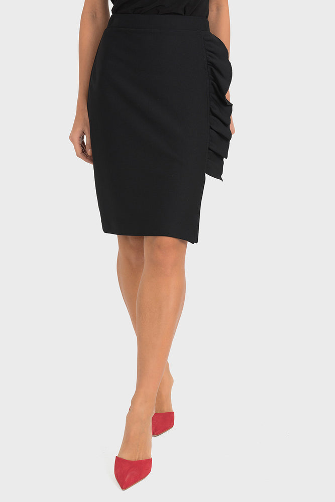 Joseph Ribkoff Style 193447 Black Ruffled Side Slit Slip-On Pencil Skirt
