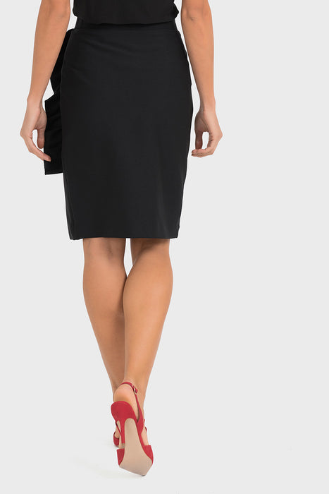 Joseph Ribkoff Black Ruffled Side Slit Slip-On Pencil Skirt 193447 NEW
