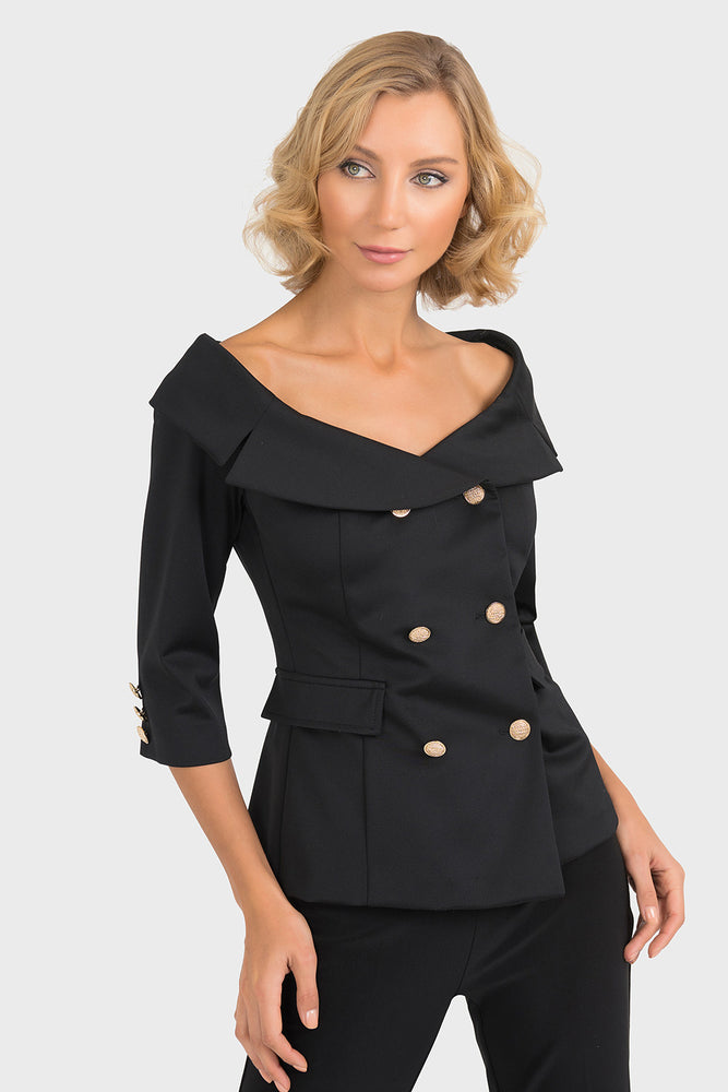 Joseph Ribkoff Style 193468 Black Double-Breasted Off-Shoulder Jacket