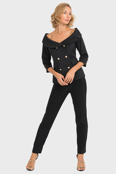 Joseph Ribkoff Black Double-Breasted Off-Shoulder Jacket 193468 NEW