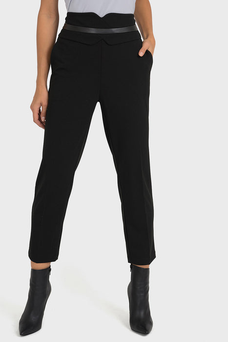 Joseph Ribkoff Style 193483 Black Leatherette Belted Look Cropped Pants