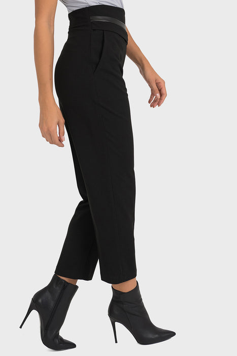 Joseph Ribkoff Black Leatherette Belted Look Cropped Pants 193483 NEW