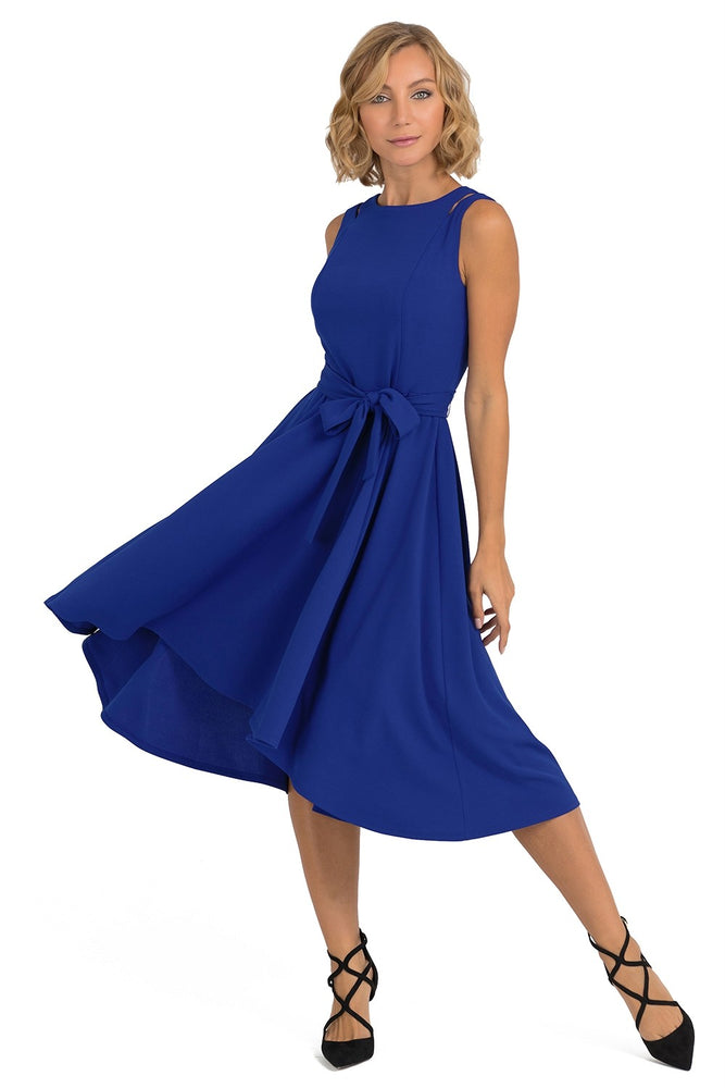Joseph Ribkoff Style 193490 Royal Blue Tie-Up Belt Sleeveless Fit-And-Flare Dress