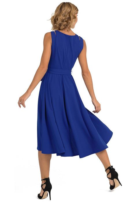 Joseph Ribkoff Royal Blue Tie-Up Belt Fit-And-Flare Dress 193490 NEW