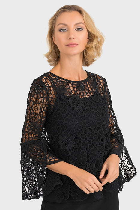 Joseph Ribkoff Style 193500 Black Floral Crochet Overlay Twin Set Top