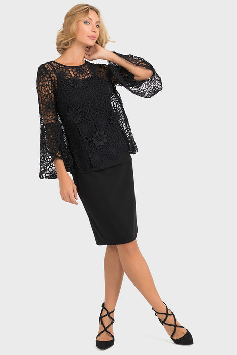 Joseph Ribkoff Black Floral Crochet Overlay Twin Set Top 193500 NEW