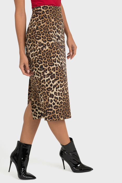 Joseph Ribkoff Beige/Black Animal Print Midi Pencil Skirt 193553 NEW