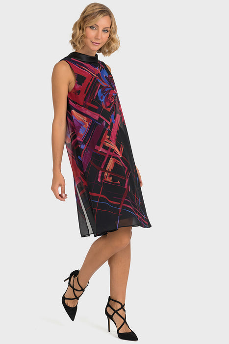 Joseph Ribkoff Style 193568 Black Multicolor Chiffon Printed Overlay Sleeveless Shift Dress