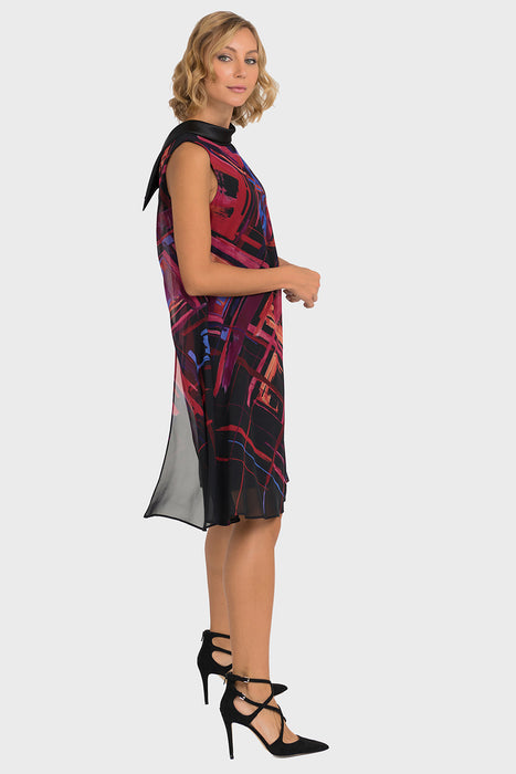 Joseph Ribkoff Black/Multi Chiffon Printed Overlay Shift Dress 193568 NEW