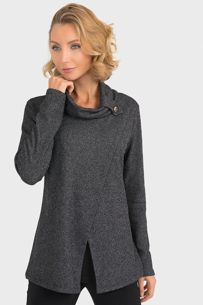 Joseph Ribkoff Style 193615 Charcoal Grey Cowl Neck Crossover Top