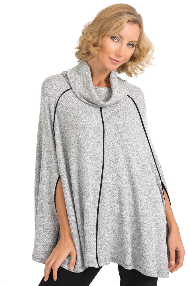 Joseph Ribkoff Style 193616 Light Grey Cowl Neck Poncho Style Top