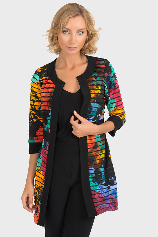 Joseph Ribkoff Black/Multi Floral Print Frilled Open Front Cardigan 193657 NEW