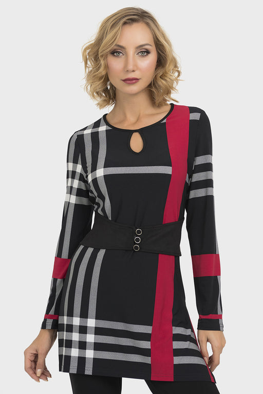 Joseph Ribkoff Style 193672 Black White Red Plaid Belt Accent Tunic Top
