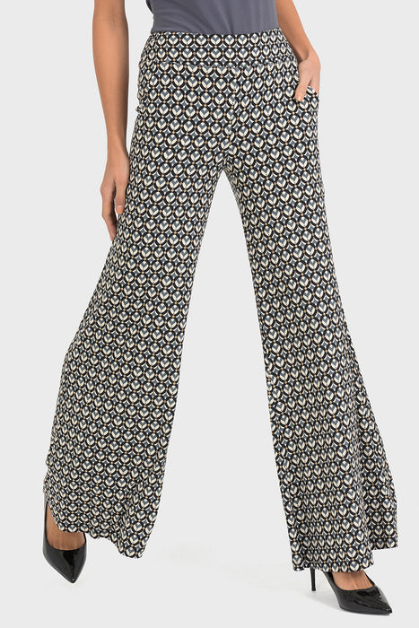 Joseph Ribkoff Style 193683 Black Grey Beige Graphic Print Wide Leg Pants