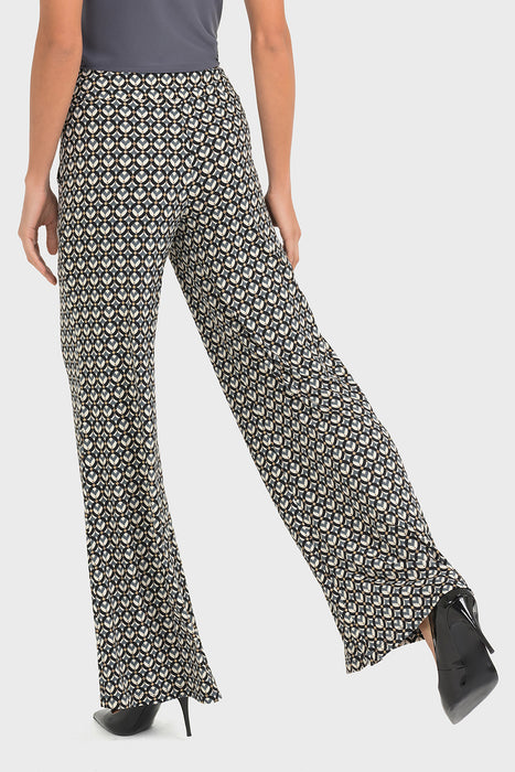 Joseph Ribkoff Black/Grey/Beige Graphic Print Wide Leg Pants 193683 NEW