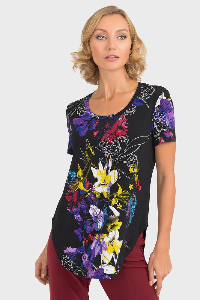 Joseph Ribkoff Style 193693 Black Multicolor Floral Print Short Sleeve Top