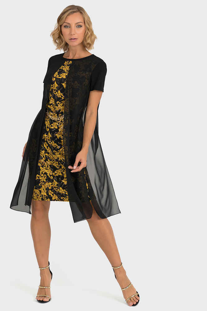 Joseph Ribkoff Style 193698 Black Gold Filigree Pattern Sheer Overlay Dress