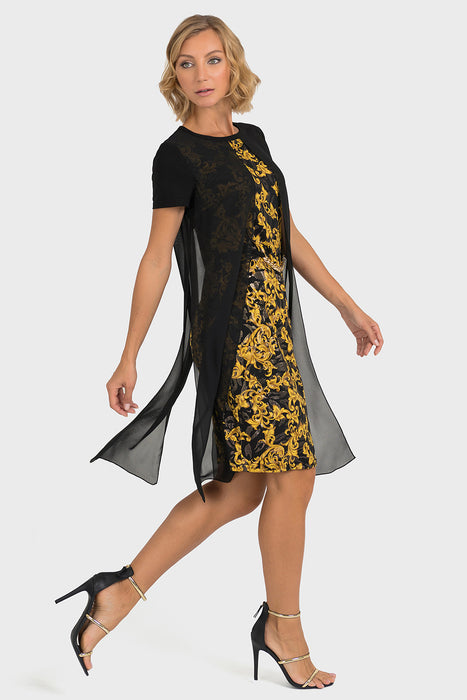 Joseph Ribkoff Black/Gold Filigree Pattern Sheer Overlay Dress 193698 NEW