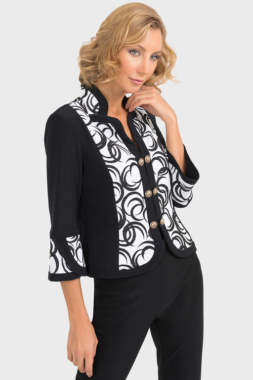 Joseph Ribkoff Black/White Graphic Print Panel Jacket 193701 NEW