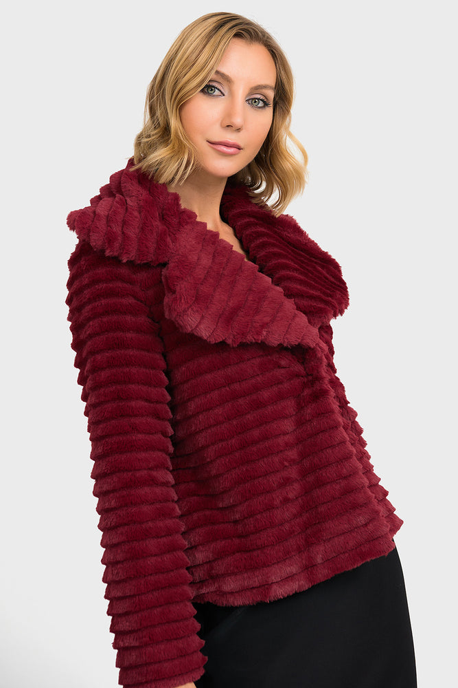 Joseph Ribkoff Style 193718 Wine Red Ribbed Cropped Faux Fur Coat