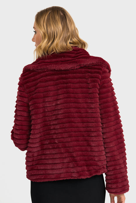 Joseph Ribkoff Wine Red Ribbed Cropped Faux Fur Coat 193718 NEW