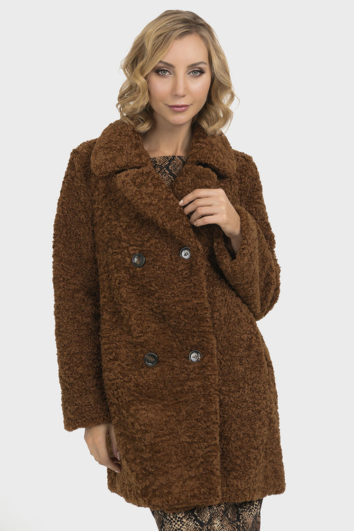 Joseph Ribkoff Light Brown Faux Shearling Oversized Coat Jacket 193719 NEW