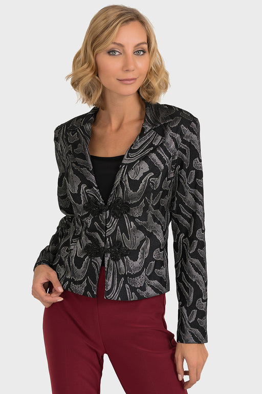 Joseph Ribkoff Black/Grey Abstract Print Cropped Blazer Jacket 193728 NEW