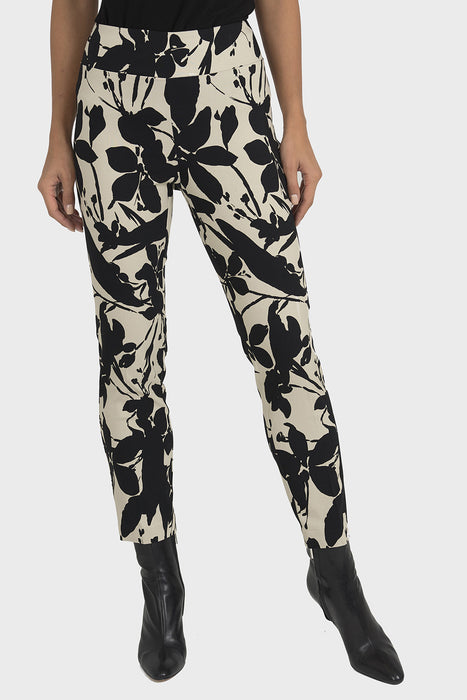 Joseph Ribkoff Beige/Black Floral Print Cropped Pixie Pants 193734 NEW