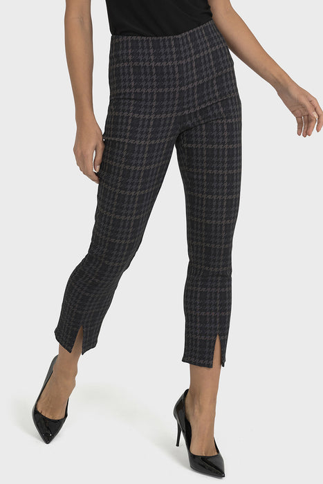 Joseph Ribkoff Style 193740 Grey Black Houndstooth Print Cropped Pants