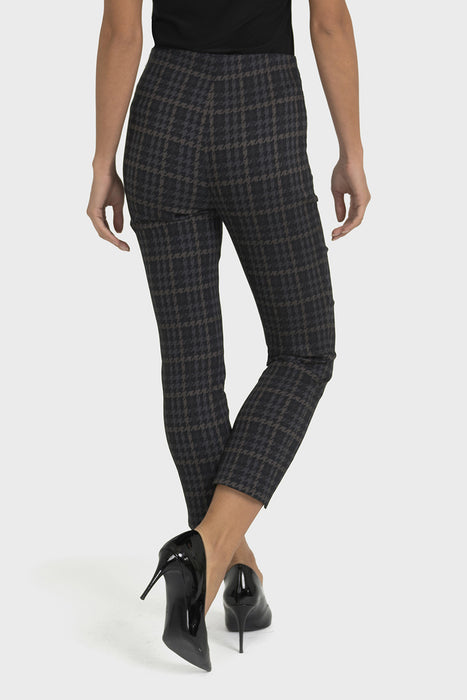 Joseph Ribkoff Grey/Black Houndstooth Print Cropped Pants 193740 NEW