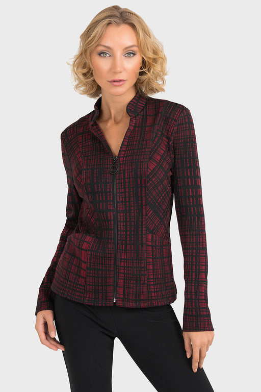 Joseph Ribkoff Style 193776 Black Wine Red Plaid Zip-Up Jacket