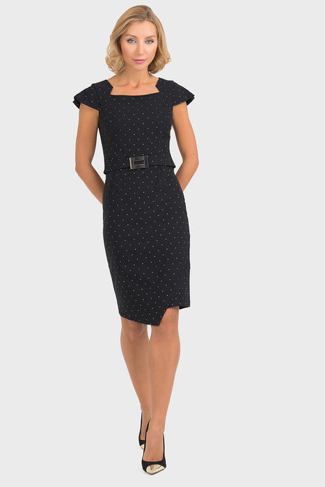 Joseph Ribkoff Style 193793 Black Gold Microdot Stud Cap Sleeve Shift Dress