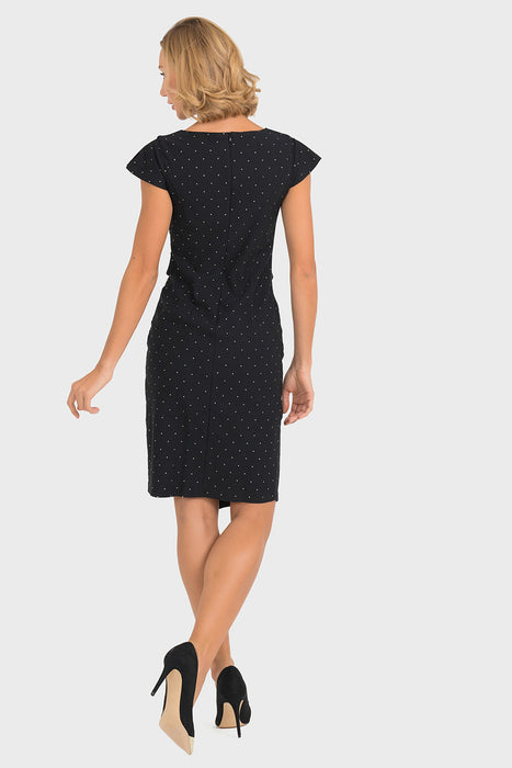Joseph Ribkoff Black/Gold Microdot Stud Cap Sleeve Shift Dress 193793 NEW