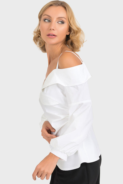 Joseph Ribkoff White Off-Shoulder Peplum Sleeve Top 193801 NEW