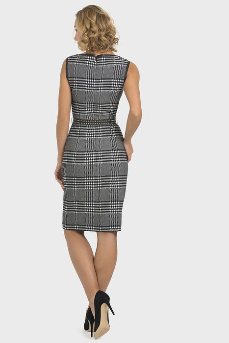 Joseph Ribkoff Black/White Plaid Sleeveless Belted Knit Dress 193821 NEW