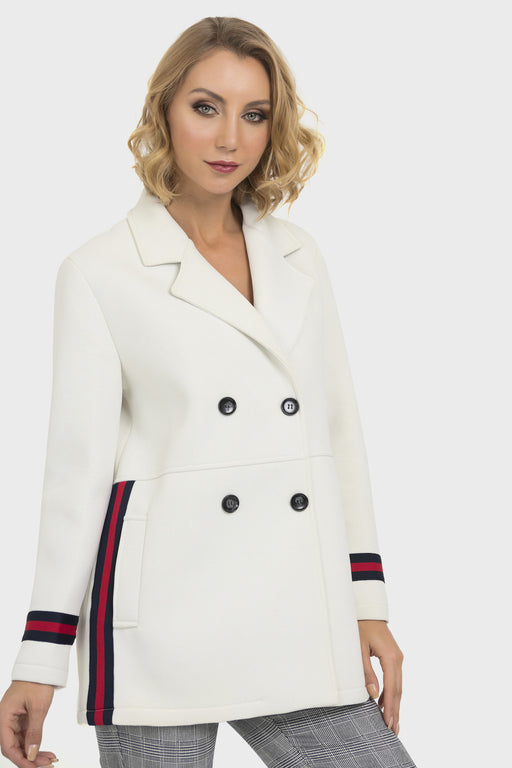 Joseph Ribkoff Off-White Striped Double-Breasted Pea Coat Jacket 193930 NEW