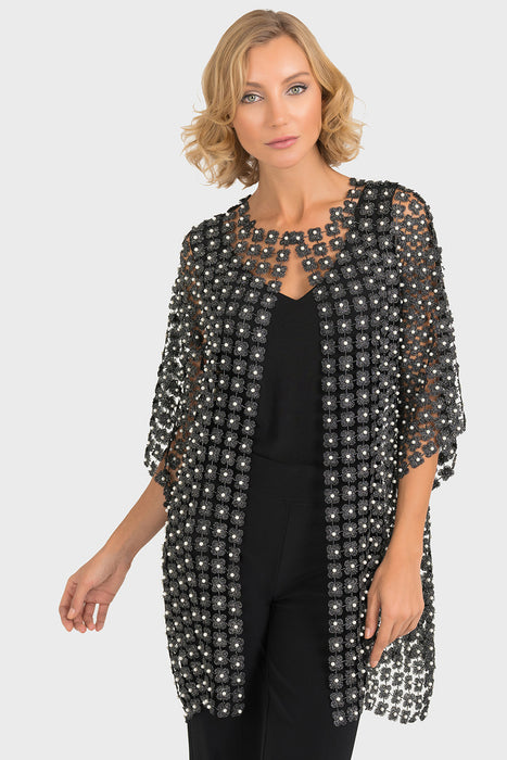 Joseph Ribkoff Style 193941 Black Silver Pearl Accent Crochet Cover-Up Jacket