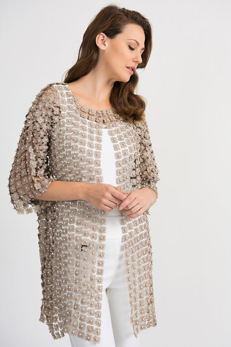 Joseph Ribkoff Style 193941 Champagne Pearl Accent Crochet Cover-Up Jacket