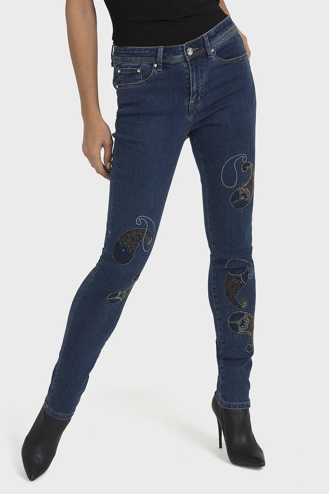 Joseph Ribkoff Indigo Blue Paisley Embroidered Denim Pants 193982 NEW