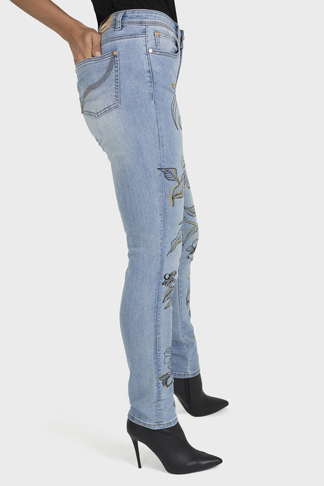 Joseph Ribkoff Light Denim Blue Floral Print Denim Pants 193991 NEW