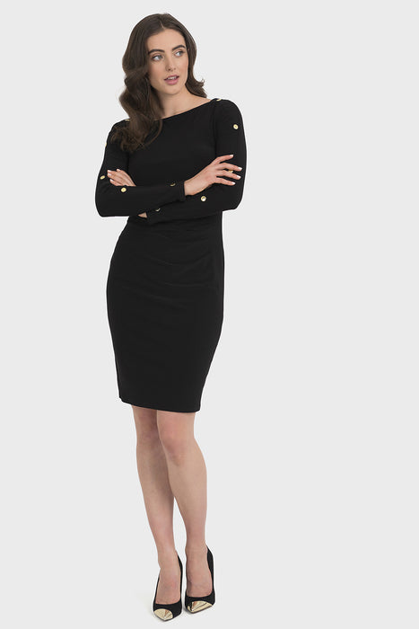 Joseph Ribkoff Style 194010 Black Ruched Gold Button Accent Long Sleeve Sheath Dress