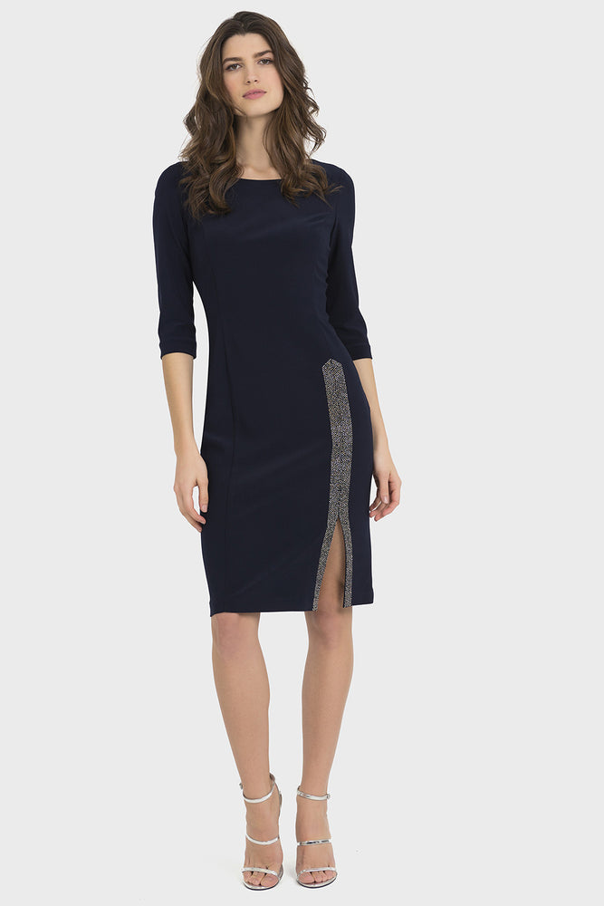 Joseph Ribkoff Style 194014 Midnight Blue Embellished Side Slit Cocktail Dress