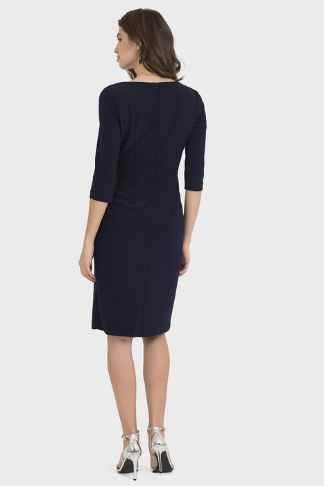 Joseph Ribkoff Midnight Blue Embellished Side Slit Cocktail Dress 194014 NEW