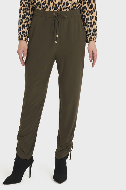 Joseph Ribkoff Style 194053 Safari Green Slip-On Shirred Ankle Pants