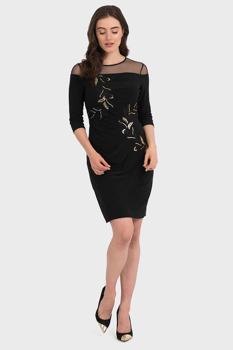 Joseph Ribkoff Style 194305 Black Gold Sheer Top Metallic Floral Pattern Dress