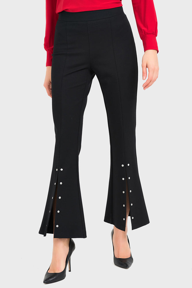 Joseph Ribkoff Style 194324 Black Studded Split Pleated Bell-Bottom Pants