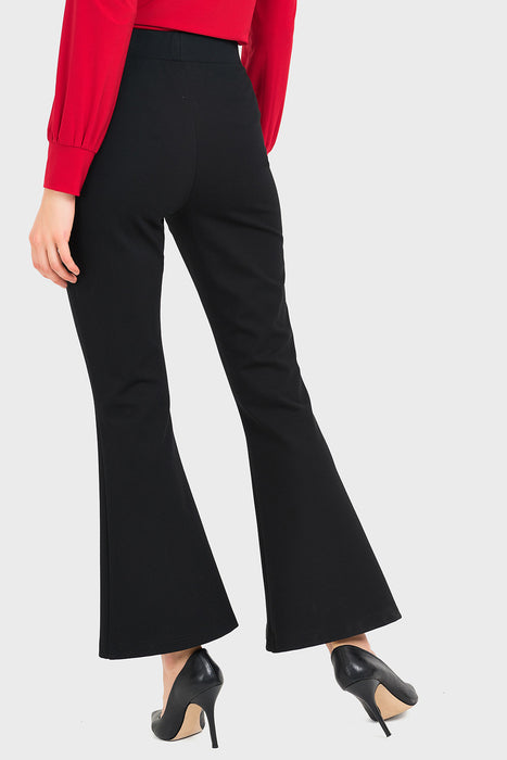 Joseph Ribkoff Black Studded Split Pleated Bell-Bottom Pants 194324 NEW
