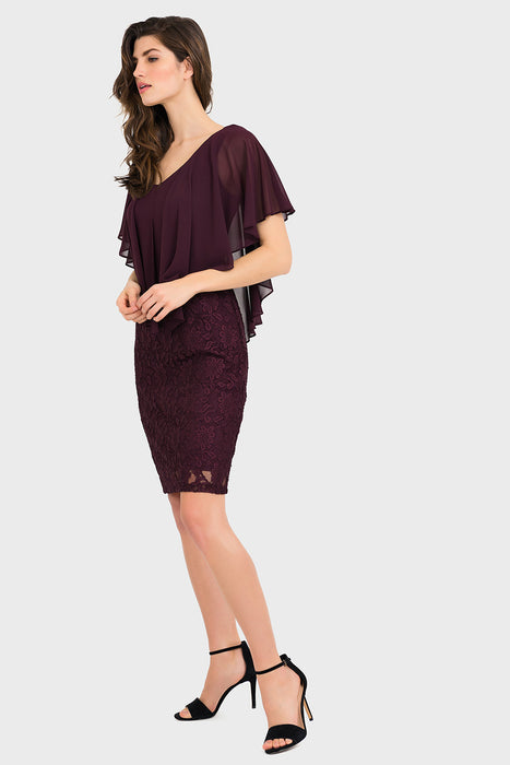 Joseph Ribkoff Blackberry Lace Asymmetric Chiffon Overlay Dress 194516 NEW